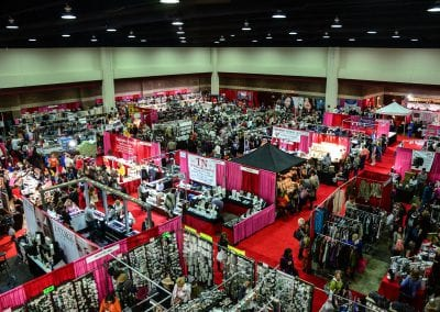 Overhead image of large holiday retail trade show